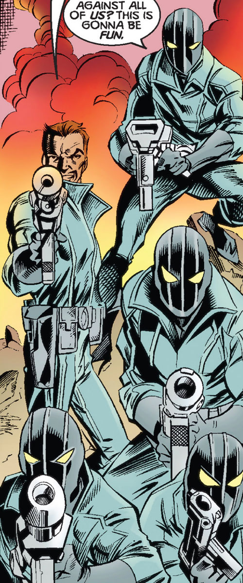 Rat Pack (Thunderbolts enemies) (Marvel Comics) pointing guns