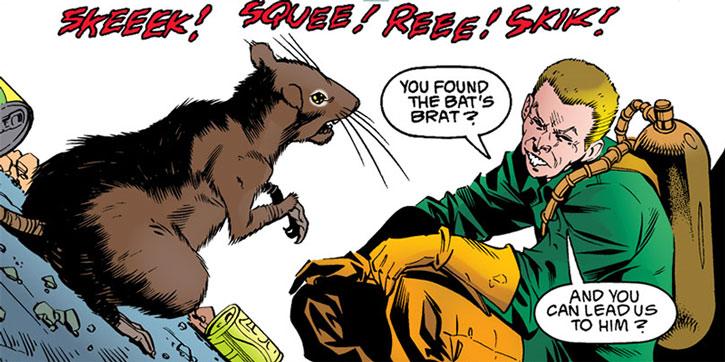 The Ratcatcher (Otis Flannegan) converses with a rat