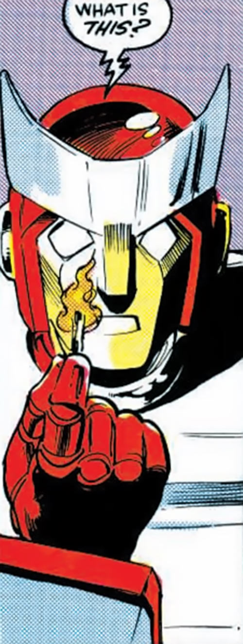 Ratchet of the Transformers (1980s Marvel Comics) face closeup looking at fire