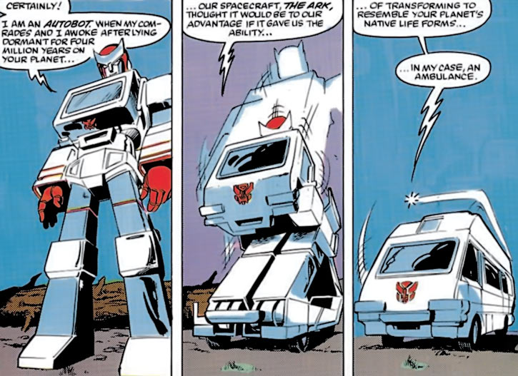 Ratchet of the Transformers (1980s Marvel Comics) transforms into an ambulance