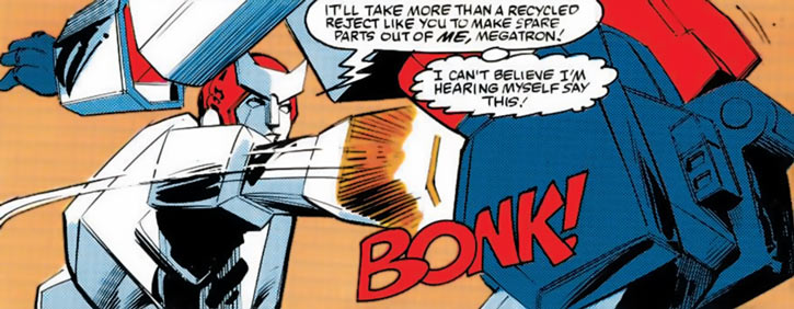 Ratchet of the Transformers (1980s Marvel Comics) punching Megatron