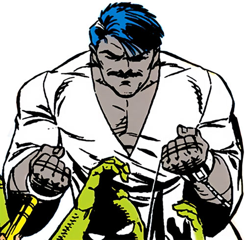 Ravan of the Suicide Squad (DC Comics) using a garrotte