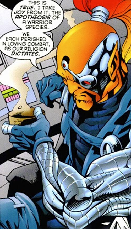 Raza of the Starjammers (Marvel Comics, X-Men) having coffee