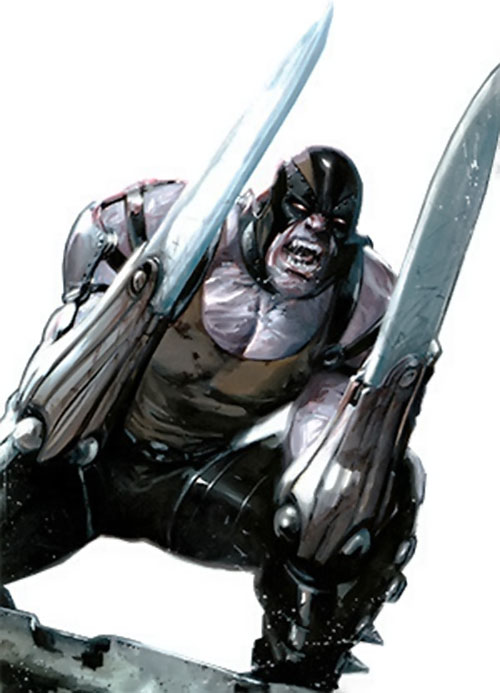 Razor-Fist II (Marvel Comics) with cybernetic blades, ready for battle