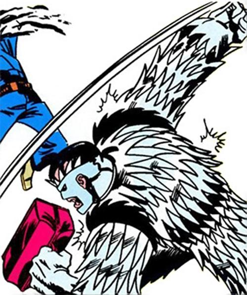 Slasher / Razorblade / Buzzsaw (Marvel Comics) hitting a police officer