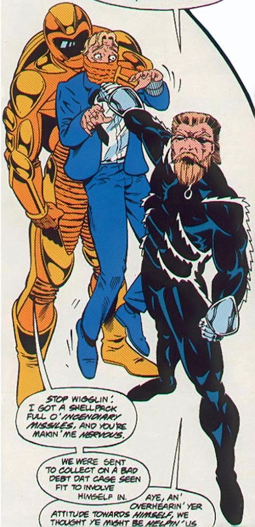 Razorwire (Spider-Man . Cage enemy) (Marvel Comics) with Nautilus and a hostage