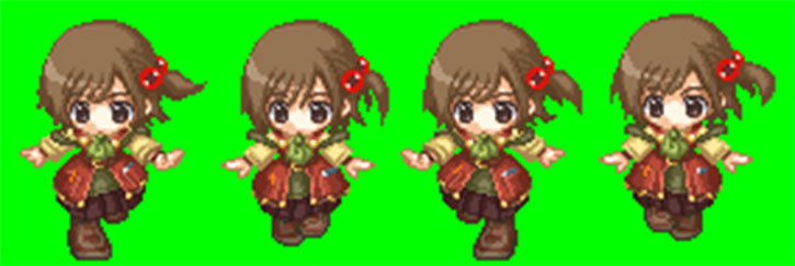 Recettear - Recette's sprite, running and skipping