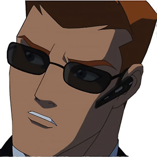 Red Arrow (Young Justice ally) (animated TV series) face closeup with sunglasses and in-ear phone