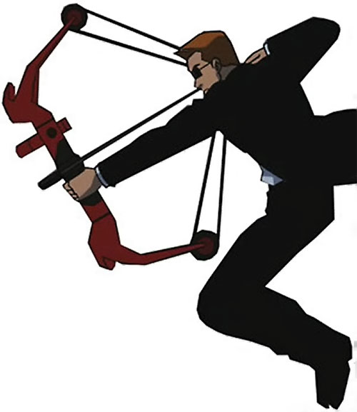 Red Arrow (Young Justice ally) (animated TV series) in a black suit with a compound bow