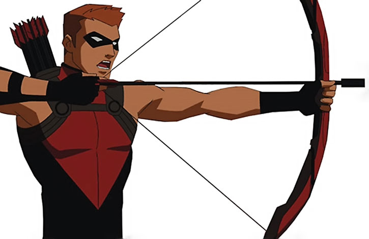 Red Arrow draws his bow over a white background