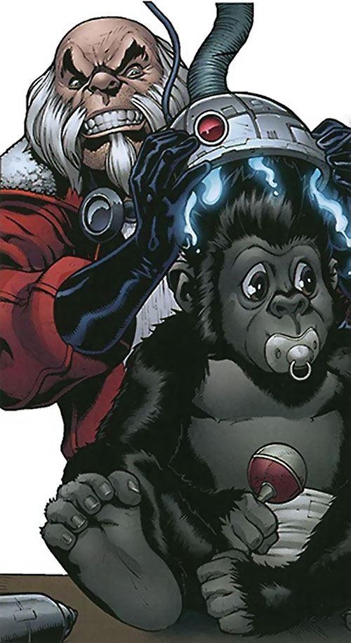Red Ghost (Marvel Comics) enhancing a baby gorilla