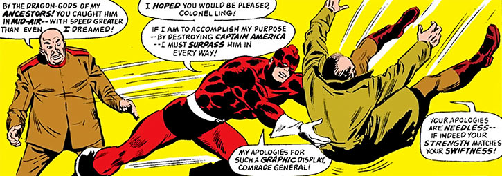 The Red Guardian (Alexi Shostakov) (Marvel Comics) demonstrates his speed