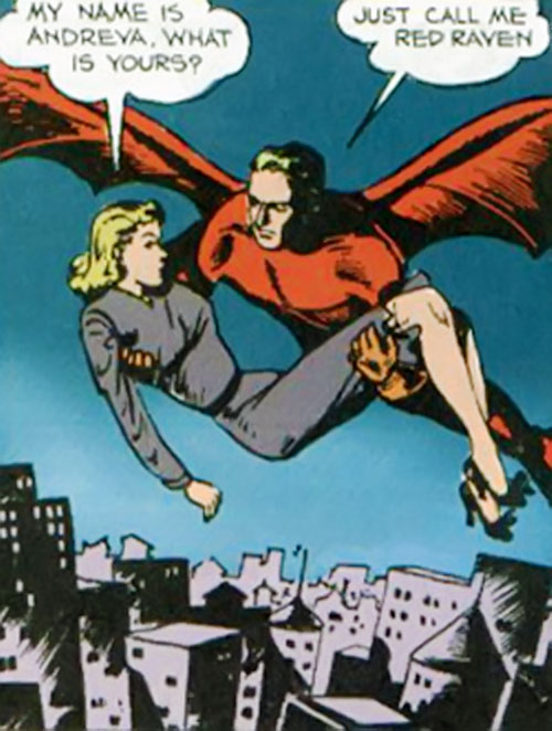 Red Raven (Timely / Marvel Comics) flying with a woman