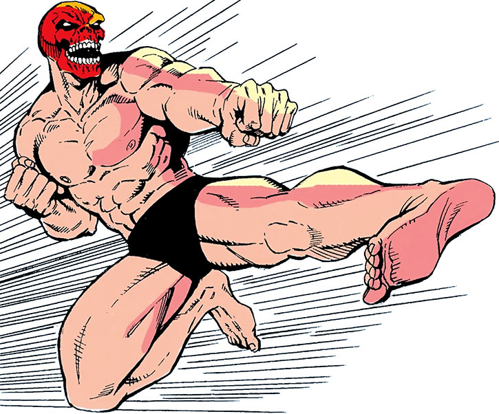 The Red Skull in his briefs, delivering a jump kick