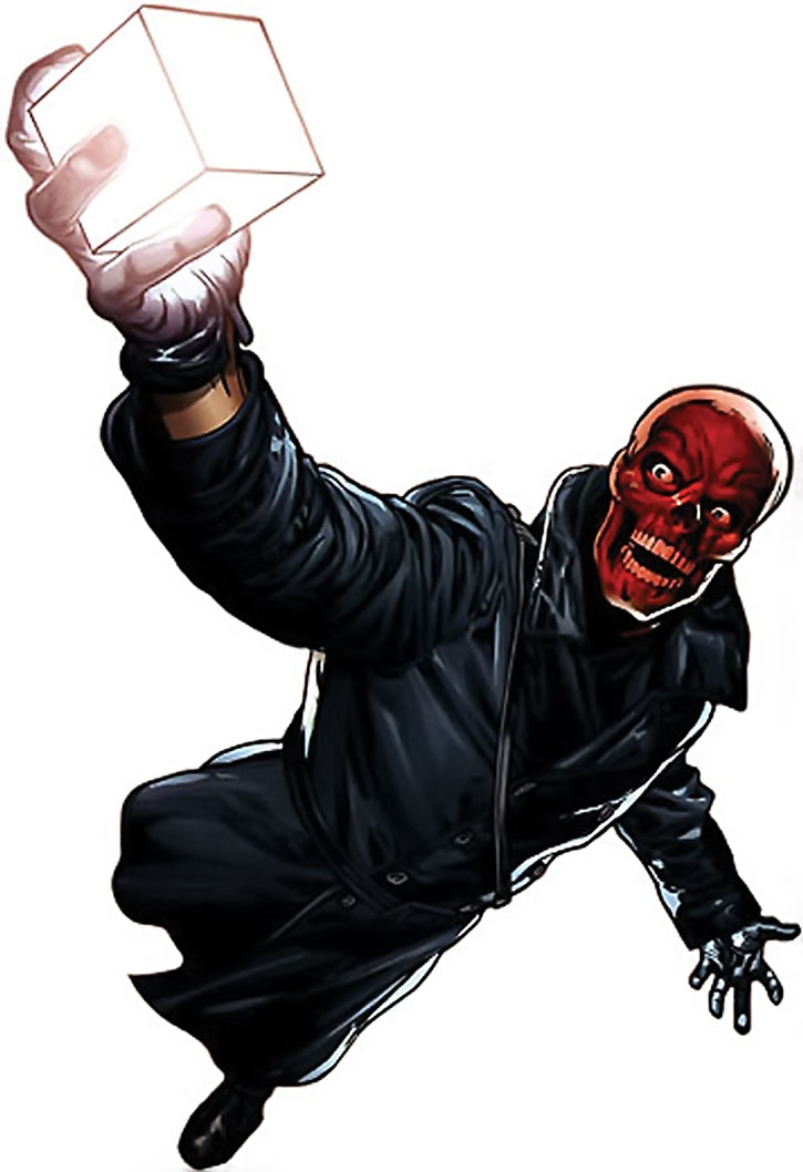 The Red Skull in a leather trenchcoat with the Cosmic Cube