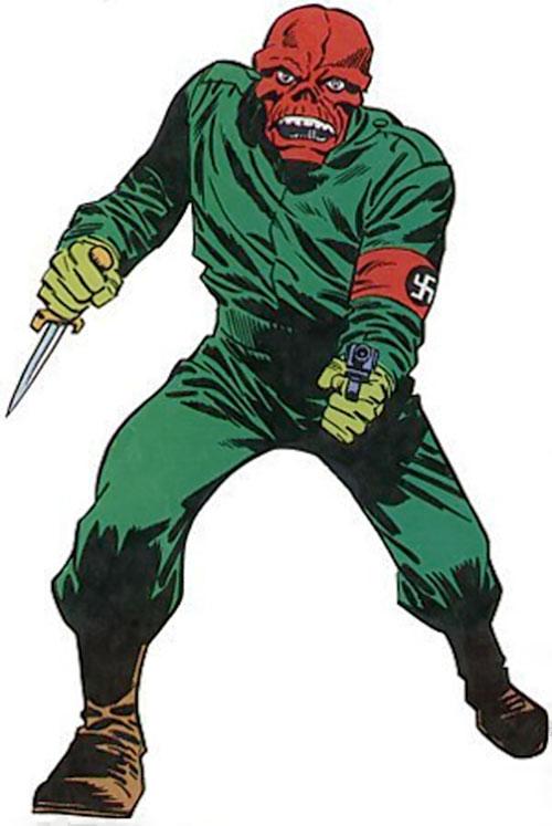 Red Skull (Captain America enemy) (Marvel Comics) green jumpsuit, pistol and dagger