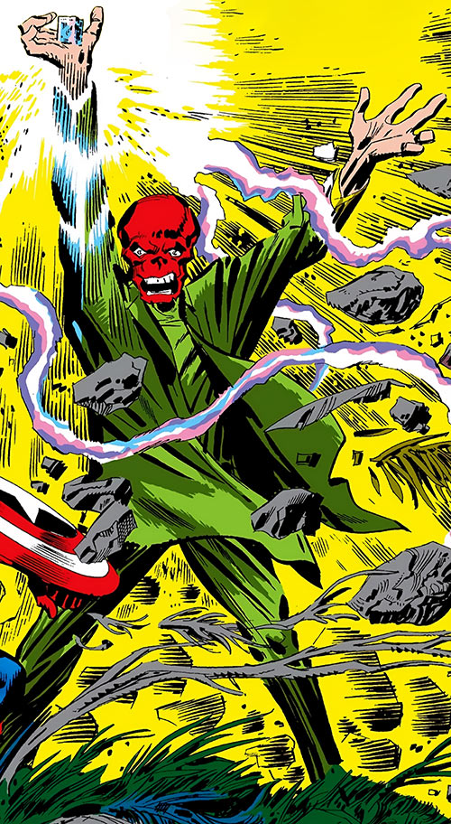 Red Skull (Captain America enemy) (Marvel Comics) brandishing the Cosmic Cube in a storm