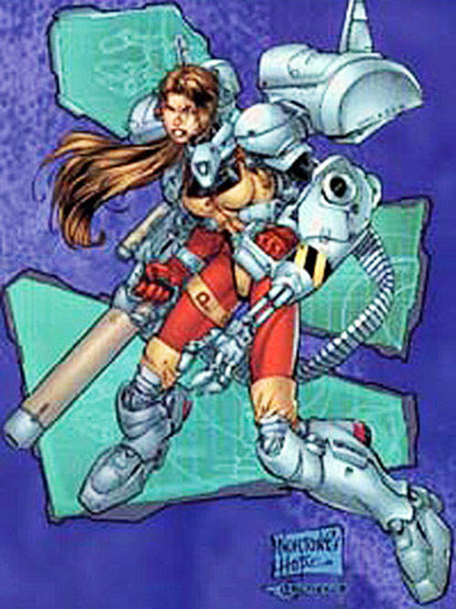 Redbird of Black Ops (Image Comics) with a mecha harness