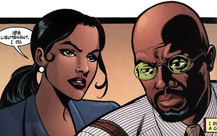 Renee Montoya and Crispus Allen face closeups