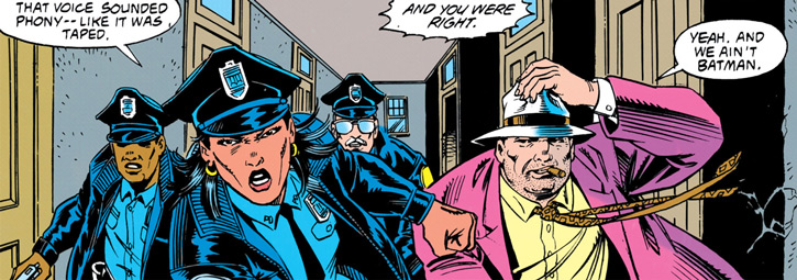Renee Montoya (1990s DC Comics) with Bullock and two cops in a corridor