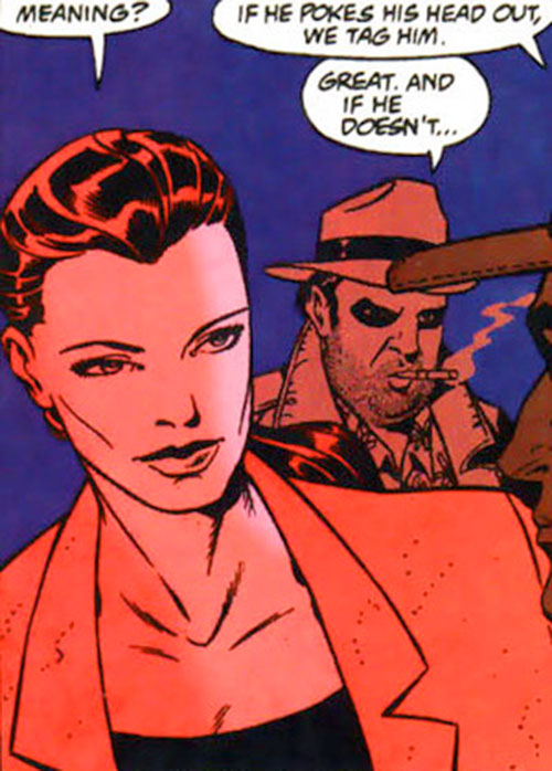 Renee Montoya - early (Batman ally) (DC Comics) and Bullock in red lighting