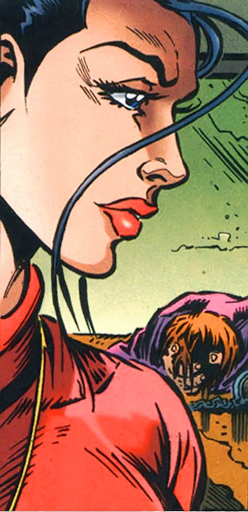 Renee Montoya - early (Batman ally) (DC Comics) face closeup side view