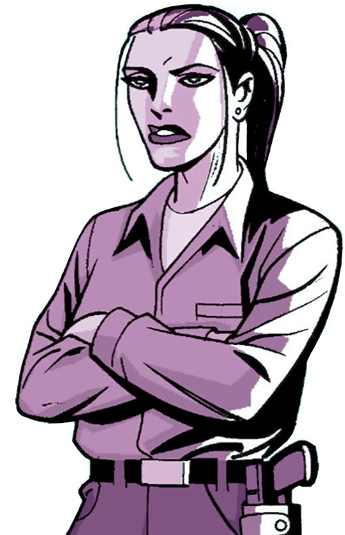 Renee Montoya (Gotham Central and 52 eras) (DC Comics) arms crossed and queue