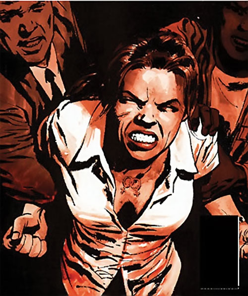 Renee Montoya (Gotham Central and 52 eras) (DC Comics) raging but held back by 2 guys, double venus scar