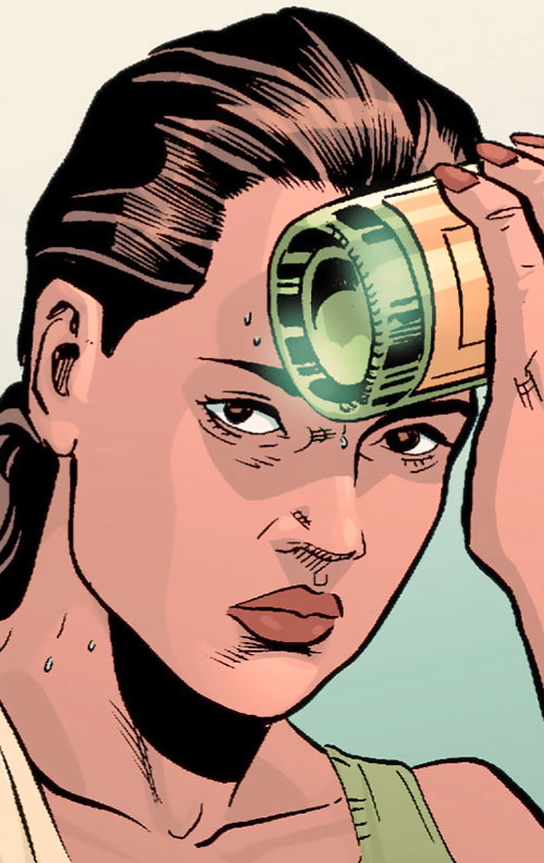 Renee Montoya (Gotham Central and 52 eras) (DC Comics) cooling her brow with a beer