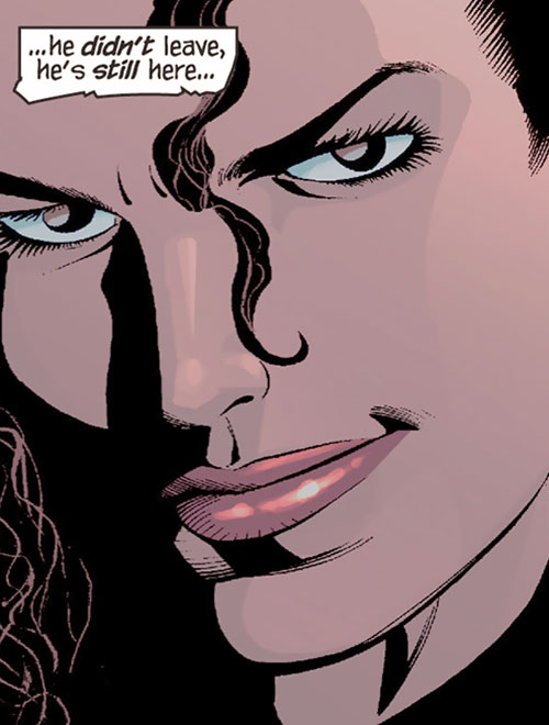 Renee Montoya (Gotham Central and 52 eras) (DC Comics) smirking face closeup
