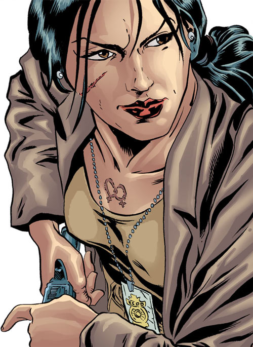 Renee Montoya (Gotham Central and 52 eras) (DC Comics) with scar and double venus burn