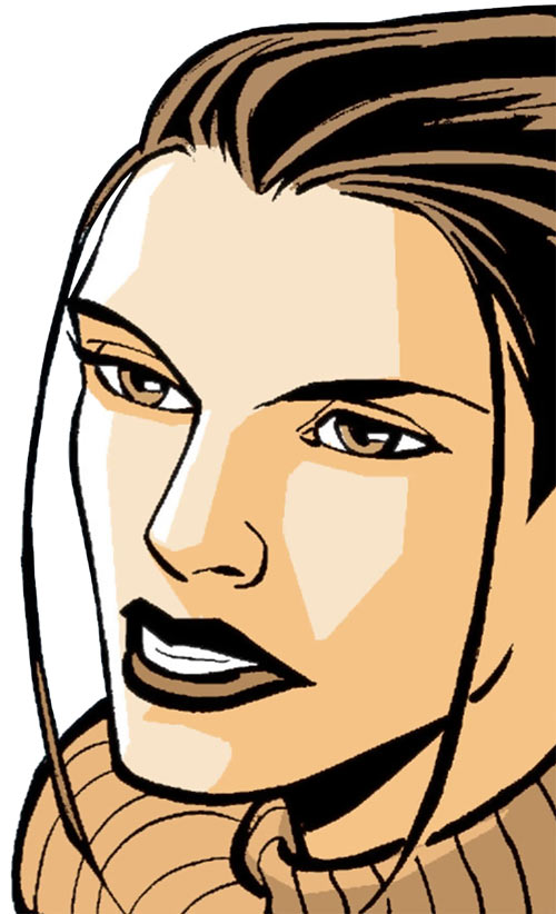 Renee Montoya (Batman ally) (DC Comics) during the early 2000s - face closeup with twin hair locks