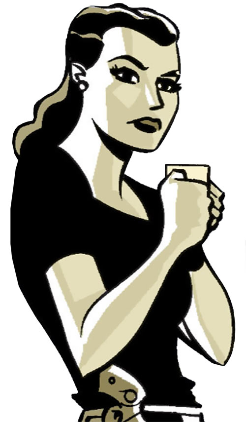 Renee Montoya (Batman ally) (DC Comics) during the early 2000s - having coffee