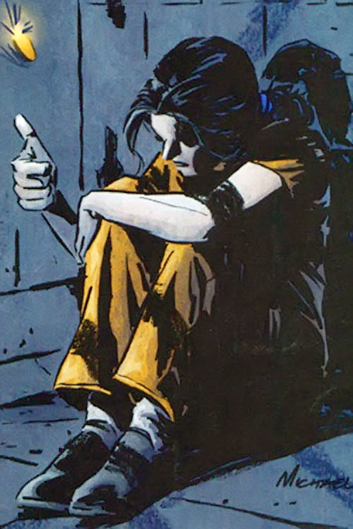 Renee Montoya (Batman ally) (DC Comics) during the early 2000s - flipping a coin in a jail
