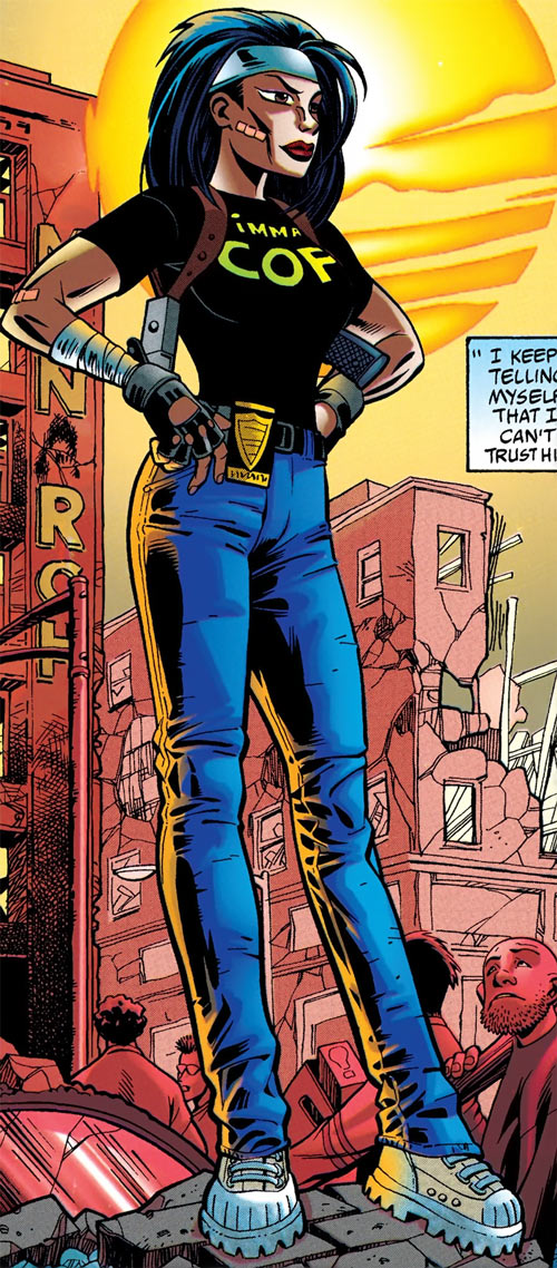 Renee Montoya (Batman ally) (DC Comics) during the early 2000s - cartoon art among the ruins
