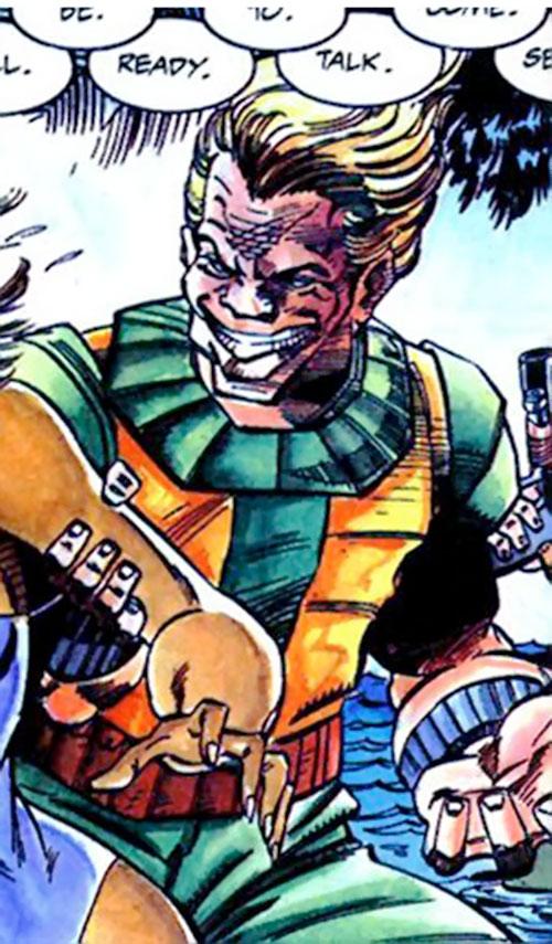 Reprise (Hardware enemy) (Milestone comics) smirking and grabbing a woman