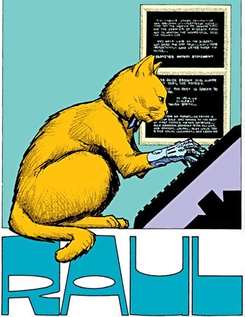 Howard Chaykin's American Flagg - Raul the cat typing