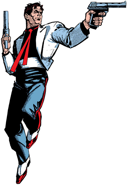 Reuben Flagg (Chaykin comics) in tricolour evening wear, dual-wielding pistols