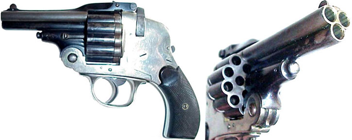 Triple-barelled, 18-shots Italian revolver