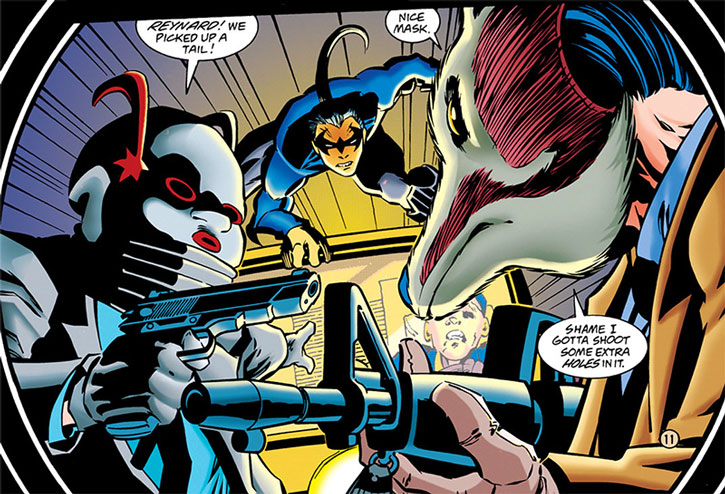 Reynard and fellow False Facers vs. Nightwing