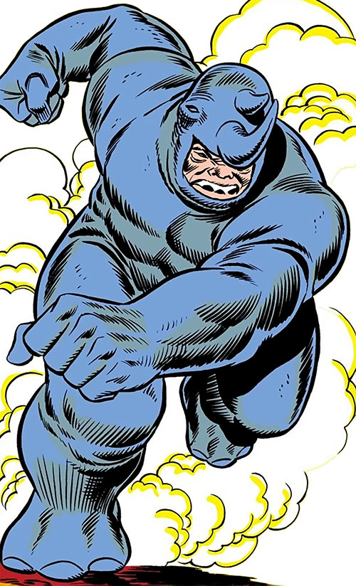 Rhino (Marvel Comics) charging in a cloud of dust