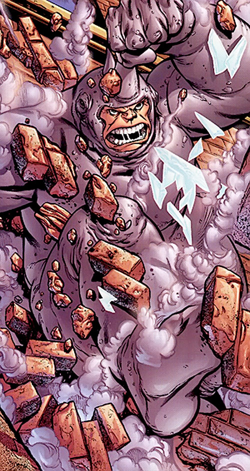Rhino (Marvel Comics) smashes through a brick wall
