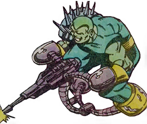 Rhodney of Rancor's Lieutenants (Guardians of the Galaxy enemy) (Marvel Comics) flying on his retro-blaster