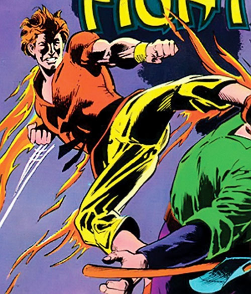 Richard Dragon (DC Comics) does a flying kick while on fire
