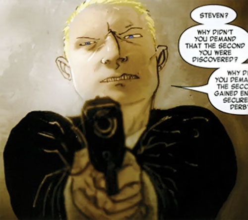Detective Richard Fell (Warren Ellis Fell comics) pointing a pistol