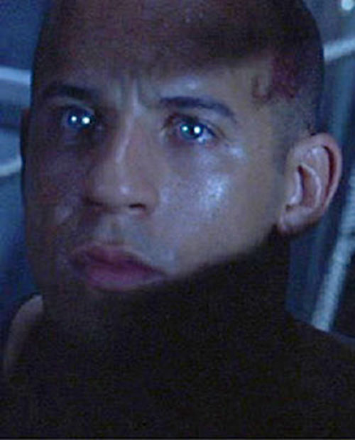 Riddick (Vin Diesel) without his goggles