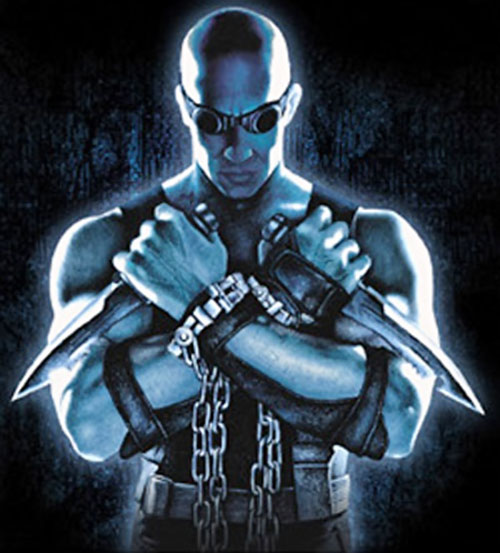 Riddick (Vin Diesel) with paired knives