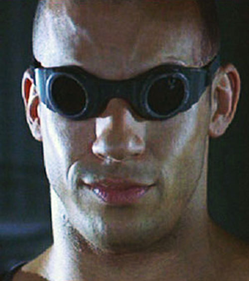 Riddick (Vin Diesel) face closeup