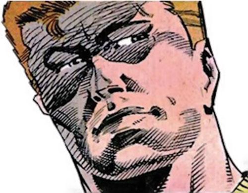 Rick Flag of the Suicide Squad (post-Crisis DC Comics) low angle face closeup