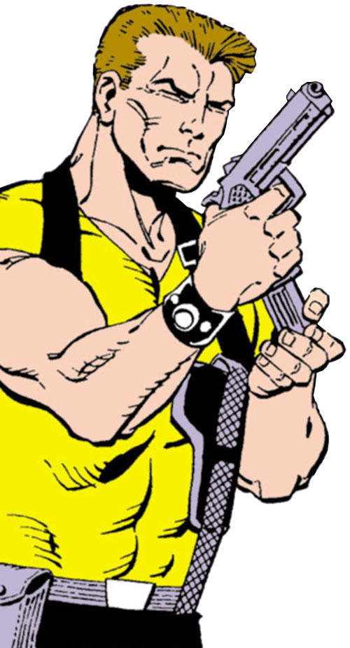 Rick Flag of the Suicide Squad (post-Crisis DC Comics) loads his pistol